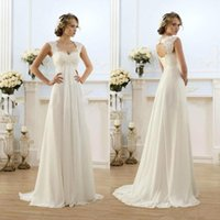 Wholesale Chiffon Long Floral Skirt - 2016 New Romantic Beach A-line Wedding Dresses Cheap Maternity Cap Sleeve Keyhole Lace Up Backless Chiffon Summer Pregnant