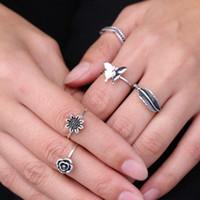 Caliente! Anillos. 1 juego 5pcs anillo europeo y americano decorativo manera de la antigüedad de la aleación de plata retro