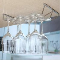 Wholesale Double Rows Top Quality Stainless Steel Glass Rack Red Wine Glass Cup Hanger Holder Goblet Racks Dryer