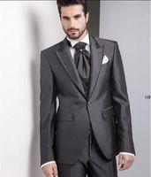 best natural charcoal - 2016 Italian Charcoal Groom Tuxedo Groomemen Best Men Suits wedding suits Custom