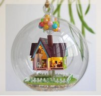 Wholesale DIY Glass House Flying Cabin Up House With Miniature Furniture Assembling Novelty Toy For Kids mini house