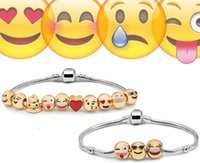 beaded boxes - Emoji Charms Bracelet Newest Fashion Emoji Bracelet Beaded Strands Smile K Gold Plate Alloy Bracelets Christmas Gift