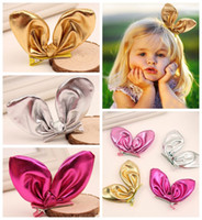 artificial leather cloth - Leather Cloth Rabbit Ears Hairpins Colors Cute Kids Bunny Ears Hair Clip Baby Girls Bright Bow Alligator Side Clip Hair Accessories B489