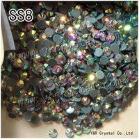 ab circle - Super Shinny HF SS8 AB Flatback Crystal Hotfix Strass Stones Iron On Rhinestone For Clothing