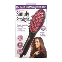 Wholesale simply straight ceramic electric degital control antiscaled hair straightener brush comb with lcd display DHL Free