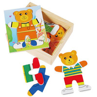bear puzzle game - Set Educational Toys Wooden Clothing Winnie Single Bear Locker Box Stereo Cute Jigsaw Puzzles Baby Kids Creative Game Gifts