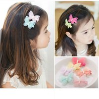 ribbons and bows - 3D Butterfly hair clip Double layers pearl and gauze cloth wrap safety clip butterfly hair pin Barrettes children hair accessories
