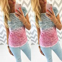 Wholesale 2016 summer New Fashion Women Ladies Cotton Shirt Blouse Tops Short Sleeve T Shirt Size