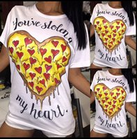 Wholesale 2016 Europe summer womens white T Shirt fashion personality pizza Heart Printed letter Tees short sleeve pullover woman Tops Long T shirt