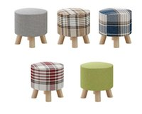 Wholesale Stools Lovely Living Room Wood Porch Cloth Sofa Tea Table Stool For Change Clothing and Shoes