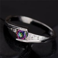 Wholesale Promotion Cheap Hot pc Sterling Silver Fine Jewelry Colorful CZ Fabulous For Woman s Ring Size