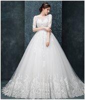 Wholesale vestido de noiva new white collar sexy backless wedding dresses long sleeve wedding dress beach wedding dresses spot