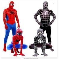 Wholesale 2016 Spider Man Black Venom Kids Adult Superhero Lycra Spiderman batman Hero Zentai Halloween cosplay Costumes With Mask for kids and men