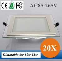 Wholesale Dimmable Led Panel Light Glass Square Ceiling Recessed Downlight SMD Panel Light W12W W Warm Cool White AC85 V