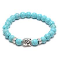 acrylic stone bangles - Hot Men Fashion turquoise Stone Antique Silver Alloy Buddha head Cuff Charm Bangle Bracelet