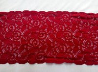 Wholesale New Cording Lace Trims Fabric Dark Red Flower Lace Spandex Scalloped Width quot Elastic African Fabrics For Cocktail Wedding Dress JIAOLUN