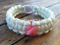 Cheap Free Shipping Paracord Bracelet Breast Cancer Awareness-white