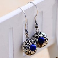 asian lanterns wedding - Jimei s925 Sterling Silver Jewelry Thai Silver retro lantern earrings lapis earrings mixed batch of female factory direct shipping