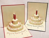 Wholesale New Arrive Festival Birthday Cake with Candles CelebrationColor cake paper cut three dimensional greeting card D Cards Greeting Cards Gifts