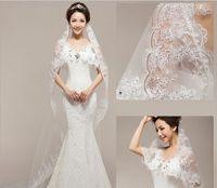 Cheap Bridal veil wedding one layer 1.5 meters high-grade sequins car bone lace three-dimensional 2017 new wedding viel