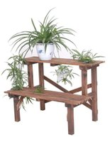 Wholesale Flower Pot Two Layer Wood Pastoral Pergola Decorative Flower Pots Garden Pot For Flowers