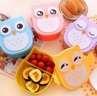 Wholesale 1050ml Cartoon Owl Lunch Box Food Fruit Storage Container Portable Bento Box Food safe Food Picnic Container for Children Gifts