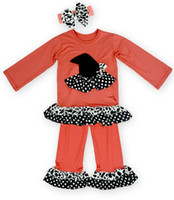band leggings - 2016 Girls Halloween Outfits Cartoon Fall Pumpkin Printing Long Sleeve Tops Pants Autumn Children Suit Kids Clothing Hair band set Leggings
