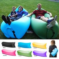 Wholesale Lazy Bag Inflatable air Bag Sleeping Bag Fast Inflatable Camping Air Sofa Sleeping Beach Bed Banana Lounge Bag Air Bed Lounger