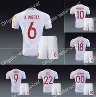 away form - spain AWAY WHITE jersey mesh form article shirts spain soccer uniform Sergio Ramos pique Xavi alba Iniesta Fernando Torres david silva