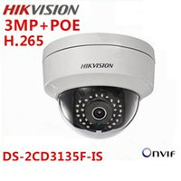 Cheap hikvision 2015 New model DS-2CD3135F-IS 3MP array 30m IR Network Dome security ip camera support POE H.265 Audio Russian English