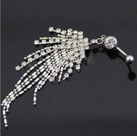 Wholesale Rhinestone Tassel Navel Dangle Button Belly Ring Bar Body Piercing Jewelry