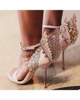 angels heels - New Sophia Webster Evangeline Angel Wing Sandal Pink Glitter Women sandals Evening Heels Wedding Shoes Bridal Heels Stars Loves