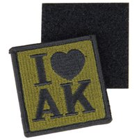 Wholesale 2pcs I love ak Patches Embroidery Hook And Loop Hook Tactical Patch D Military Armband D Army Morale Badge