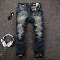 beckham jeans - David Beckham Men Ripped Straight Jeans Denim Vintage Robin Jeans For Men High Quality RePlay Jeans mens skinny Jeans Designer true jeans