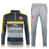 arsenal match - 2017 Arsenal Sweater Long Sleeve Grey Jacket Match Black Pants Training uniform Arsenal Sweater Tracksuit Soccer Training Suit