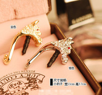Wholesale Cute Rhinestone Nagao Leopard Anti dust Plug Cell Phone Accessories For Iphone4 And All Normal mm Earphone Jack Plug