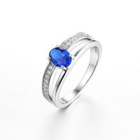 best price wedding rings - Best Price Pave Clear CZ Love Wedding Engagement Ring Authentic Sterling Silver Jewelry with Oval Blue Spinel Stone for Women DL02230A