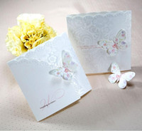 Wholesale Personalized Design High Quality White Butterfly Wedding Invitations Cards Include Inside Pages and Envelope