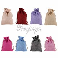 Wholesale Wholesales cm Colours Natural Jute Bag with Drawstring Burlap Gift Bag Packaging Storage Bag Wedding Decorations Jewelry Accessories