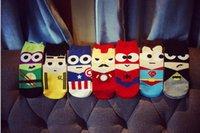 america slippers - men high quality cotton ankle socks batman iron man captain america boat socks super hero sock slippers