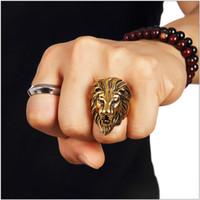 Wholesale Stainless Steel High Quality Lion Face Hip Hop Rings For Men Women Trendsetter Joyas Nightclub Singer Punk Finger Jewelry Gold Size