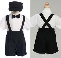 Wholesale Black Suspender Trousers Boy s Girl s Formal Occasion Kids Suits Tuxedo Male Flower Girl Dresses Piece Set