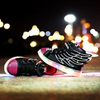 armor shoes - 2016 Led Shoes Children Colorful Armor Led Light Shoes Wings Boy Led Usb Charge Shoes Kids