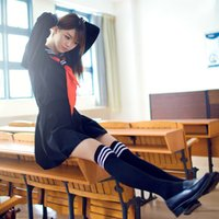ai school - Japanese Hell Girl Enma Ai Sailor Suit Girls High School Student Uniform Long sleeve JK Uniform Cosplay Costume Clothing Top Skirt Tie Socks