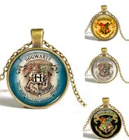 angels crest - Harry Potter Necklace Pendant Hogwarts Crest Pendant Geek Gifts for Women Link Chain Glass Cabochon Necklaces