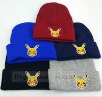 Wholesale Adult Poke Go Beanie Poke Ball Crochet Hats Pocket Monster Skull Cap Pikachu Knit Beanies Hip Hop Beanie Poke Caps Fashion Accessories B1180
