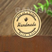 Wholesale 38mm Kraft handmade sticker with love Round Gift seal stickers for handmade products ss a1005