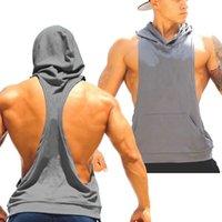 Fábrica venda- Cotton Stringer em branco equipamentos de musculação ginástica Hoodies mangas Gym Desporto Undershirt For Men Regatas Camisa MY9022