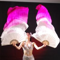 Wholesale Real Silk Long Fan Veil For Belly Dance or Stage Show Thicker Oriental Fusion Dancing Silk Veil Fan Right Left Hand Pair cm