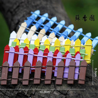 Wholesale 3x10CM DIY Ornaments Mini Wooden Fence Artificial Fence Garden Micro Landscape Terrarium Decoration Miniature Colors HY1173